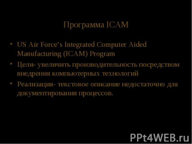 Программа ICAM US Air Force's Integrated Computer Aided Manufacturing (ICAM) Program Цели- увеличить производительность посредством внедрения компьютерных технологий Реализация- текстовое описание недостаточно для документирования процессов.