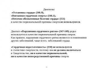 Диагнозы: «Остановка сердца» (I46.9), «Внезапная сердечная смерть» (I46.1), «Нет