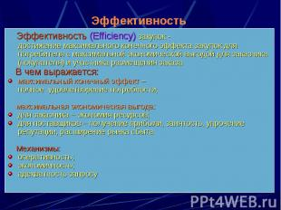 Эффективность (Efficiency) закупок - достижение максимального конечного эффекта
