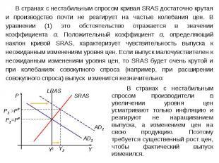 В странах с нестабильным спросом кривая SRAS достаточно крутая и производство по