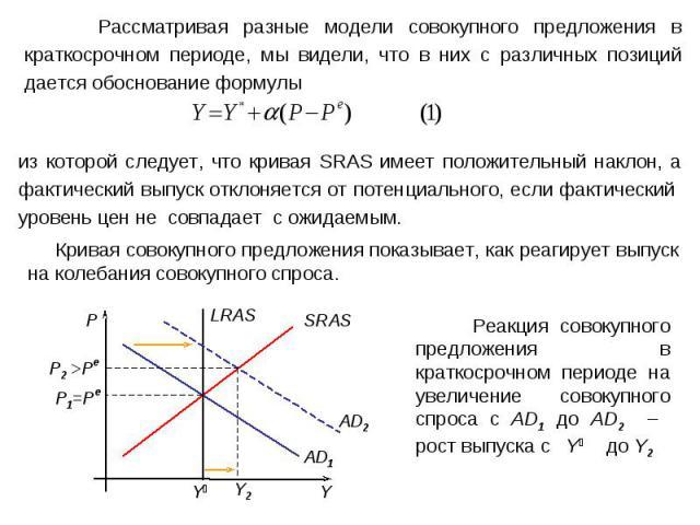 Рассматривая разные модели совокупного предложения в краткосрочном периоде, мы видели, что в них с различных позиций дается обоснование формулы