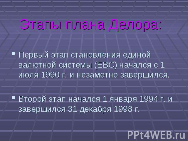 Первый этап становления единой валютной системы (ЕВС) начался с 1 июля 1990 г. и незаметно завершился. Первый этап становления единой валютной системы (ЕВС) начался с 1 июля 1990 г. и незаметно завершился. Второй этап начался 1 января 1994 г. и заве…