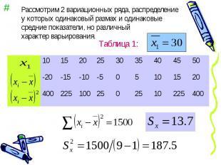 Рассмотрим 2 вариационных ряда, распределение у которых одинаковый размах и один
