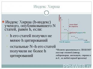 Индекс Хирша (h-индекс) ученого, опубликовавшего N статей, равен h, если: Индекс