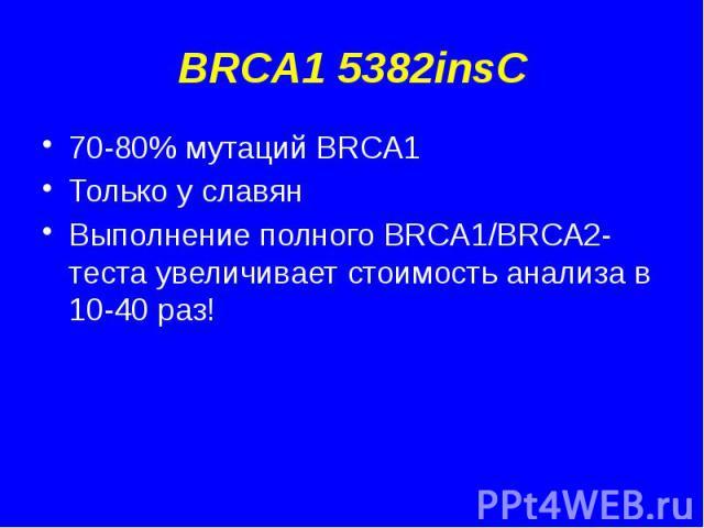 BRCA1 5382insC 70-80% мутаций BRCA1 Только у славян Выполнение полного BRCA1/BRCA2-теста увеличивает стоимость анализа в 10-40 раз!