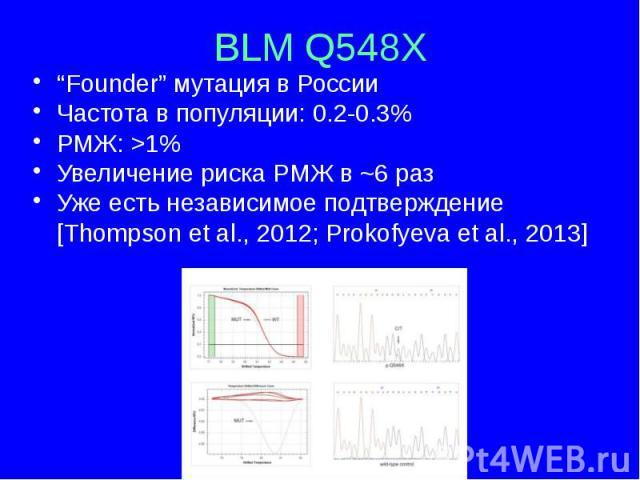 """BLM Q548X """"Founder"""" мутация в России Частота в популяции: 0.2-0.3% РМЖ: >1% Увеличение риска РМЖ в ~6 раз Уже есть независимое подтверждение [Thompson et al., 2012; Prokofyeva et al., 2013]"""