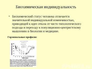 Биохимическая индивидуальность Биохимический статус человека отличается значител