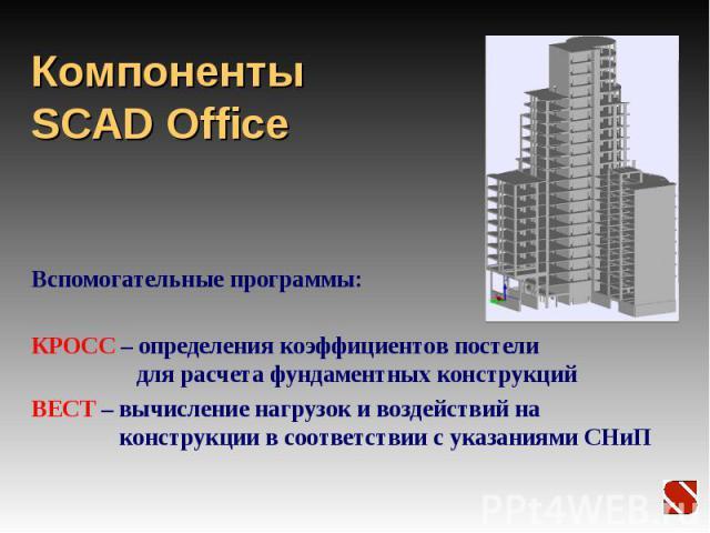Компоненты SCAD Office Вспомогательные программы: КРОСС – определения коэффициентов постели для расчета фундаментных конструкций ВЕСТ – вычисление нагрузок и воздействий на конструкции в соответствии с указаниями СНиП