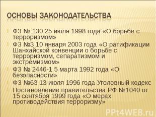 ФЗ № 130 25 июля 1998 года «О борьбе с терроризмом» ФЗ № 130 25 июля 1998 года «