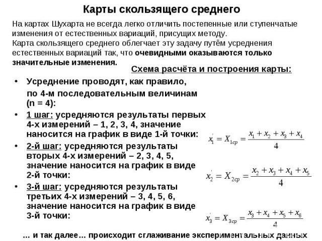 Усреднение проводят, как правило, Усреднение проводят, как правило, по 4-м последовательным величинам (n = 4): 1 шаг: усредняются результаты первых 4-х измерений – 1, 2, 3, 4, значение наносится на график в виде 1-й точки: 2-й шаг: усредняются резул…