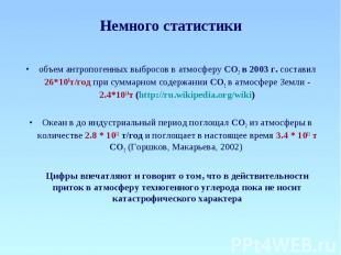 Немного статистики объем антропогенных выбросов в атмосферу СО2 в 2003 г. состав
