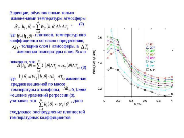 Вариации, обусловленные только Вариации, обусловленные только изменениями температуры атмосферы, , (2) где - плотность температурного коэффициента согласно определению, - толщина слоя i атмосферы, а изменения температуры слоя. Было показано, что (3)…