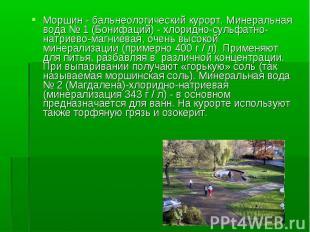 Моршин - бальнеологический курорт. Минеральная вода № 1 (Бонифаций) - хлоридно-с