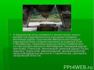 В Харьковской области имеются значительные запасы кремнистых гидрокарбонатных ка