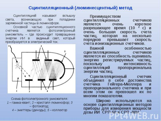 Преимуществом сцинтилляционных счетчиков является очень короткое разрешающее время (10 -8 с) и очень большая скорость счета частиц, которая на несколько порядков превышает скорость счета ионизационных счетчиков. Преимуществом сцинтилляционных счетчи…