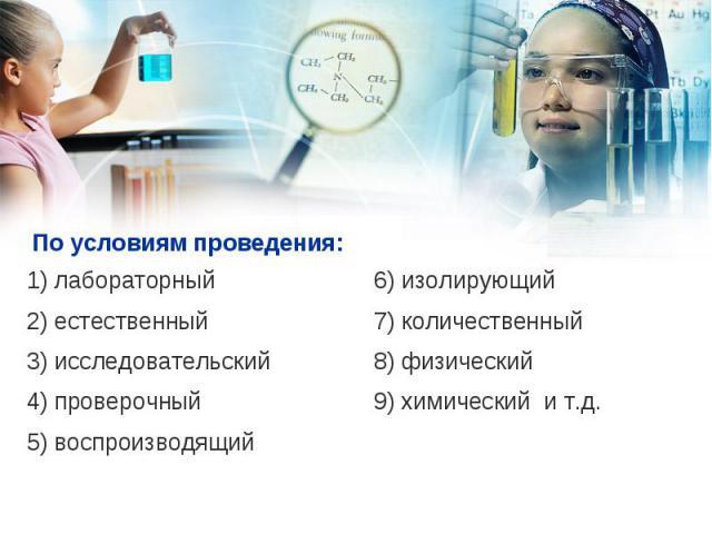 1) лабораторный 1) лабораторный 2) естественный 3) исследовательский 4) проверочный 5) воспроизводящий