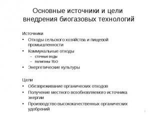 Источники Источники Отходы сельского хозяйства и пищевой промышленности Коммунал