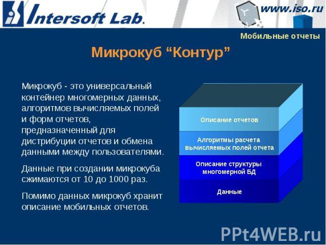 Микрокуб - это универсальный контейнер многомерных данных, алгоритмов вычисляемых полей и форм отчетов, предназначенный для дистрибуции отчетов и обмена данными между пользователями. Микрокуб - это универсальный контейнер многомерных данных, алгорит…