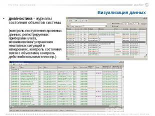Визуализация данных диагностика - журналы состояния объектов системы (контроль п