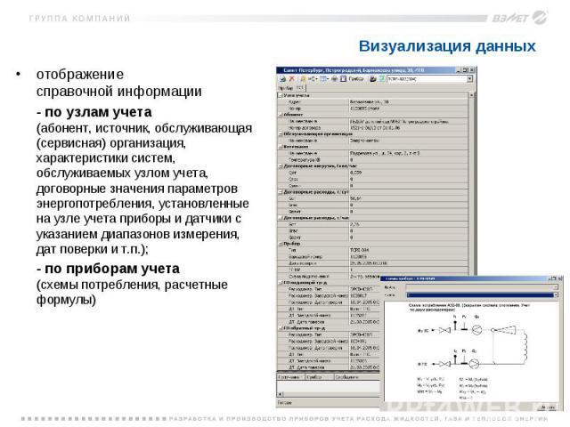 Визуализация данных отображение справочной информации - по узлам учета (абонент, источник, обслуживающая (сервисная) организация, характеристики систем, обслуживаемых узлом учета, договорные значения параметров энергопотребления, установленные на уз…