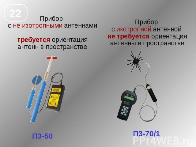 Прибор с не изотропными антеннами требуется ориентация антенн в пространстве