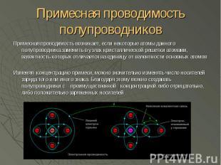Примесная проводимость полупроводников Примесная проводимость возникает, если не