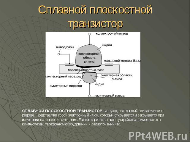 Сплавной плоскостной транзистор