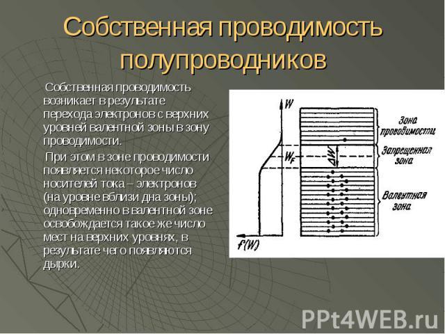 Собственная проводимость полупроводников Собственная проводимость возникает в результате перехода электронов с верхних уровней валентной зоны в зону проводимости. При этом в зоне проводимости появляется некоторое число носителей тока – электронов (н…