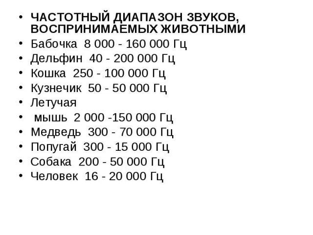 ЧАСТОТНЫЙ ДИАПАЗОН ЗВУКОВ, ВОСПРИНИМАЕМЫХ ЖИВОТНЫМИ ЧАСТОТНЫЙ ДИАПАЗОН ЗВУКОВ, ВОСПРИНИМАЕМЫХ ЖИВОТНЫМИ Бабочка 8 000 - 160 000 Гц Дельфин 40 - 200 000 Гц Кошка 250 - 100 000 Гц Кузнечик 50 - 50 000 Гц Летучая мышь 2 000 -150 000 Гц Медведь 300 - 70…