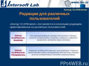 Редакции для различных пользователей «Контур OLAPBrowser» поставляется в несколь