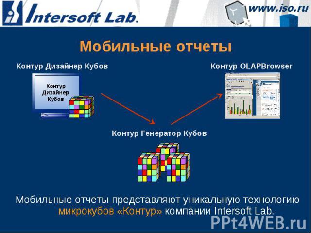 Мобильные отчеты Мобильные отчеты представляют уникальную технологию микрокубов «Контур» компании Intersoft Lab.