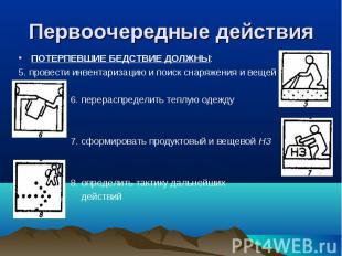 ПОТЕРПЕВШИЕ БЕДСТВИЕ ДОЛЖНЫ: ПОТЕРПЕВШИЕ БЕДСТВИЕ ДОЛЖНЫ: 5. провести инвентариз
