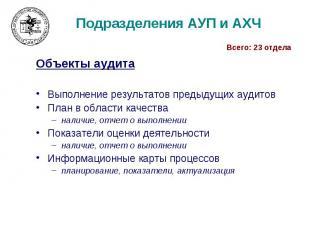 Подразделения АУП и АХЧ Объекты аудита Выполнение результатов предыдущих аудитов