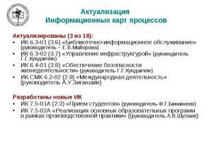 Актуализация Информационных карт процессов Актуализированы (3 из 18): ИК 6.3-01