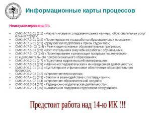 Информационные карты процессов Неактуализированы !!!: СМК ИК 7.2-01 (2.1) «Марке