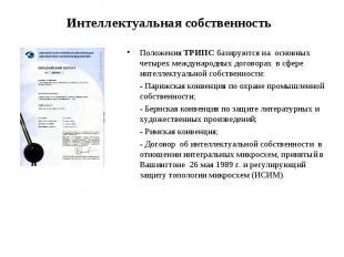 Положения ТРИПС базируются на основных четырех международных договорах в сфере и