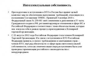 При подготовке к вступлению в ВТО в России был принят целый комплекс мер по обес