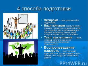 4 способа подготовки Экспромт — выступление без подготовки. План-конспект выступ