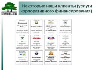 Некоторые наши клиенты (услуги корпоративного финансирования)
