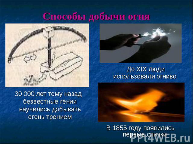 30 000 лет тому назад безвестные гении научились добывать огонь трением 30 000 лет тому назад безвестные гении научились добывать огонь трением