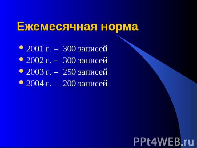 Ежемесячная норма 2001 г. – 300 записей 2002 г. – 300 записей 2003 г. – 250 записей 2004 г. – 200 записей