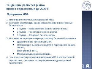 1. Увеличение количества слушателей MBA. 1. Увеличение количества слушателей MBA