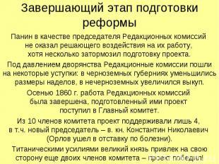Завершающий этап подготовки реформы Панин в качестве председателя Редакционных к
