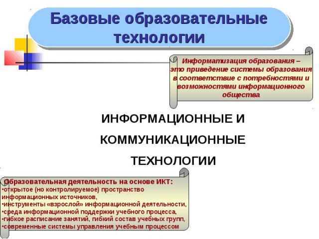 ИНФОРМАЦИОННЫЕ И ИНФОРМАЦИОННЫЕ И КОММУНИКАЦИОННЫЕ ТЕХНОЛОГИИ