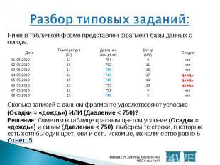 Ниже в табличной форме представлен фрагмент базы данных о погоде: Ниже в табличн
