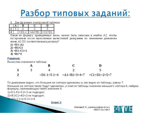 Решение: Решение: Вычислим значения в таблице: По диаграмме видно, что большие ее сектора одинаковы и, как видно из таблицы, равны 7. Меньшие ее сектора также будут одинаковы, и зная из таблицы значение меньшего сектора-4, найдем формулу, принимающу…