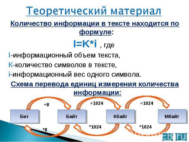 Количество информации в тексте находится по формуле: Количество информации в тексте находится по формуле: I=K*i , где I-информационный объем текста, К-количество символов в тексте, i-информационный вес одного символа. Схема перевода единиц измерения…