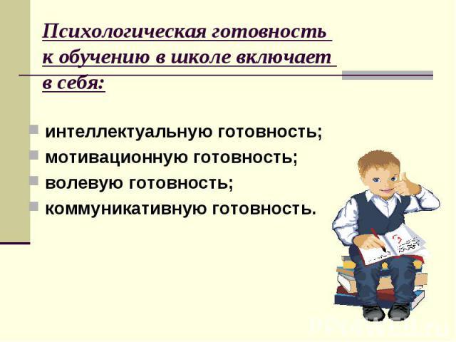 Психологическая готовность к обучению в школе включает в себя: интеллектуальную готовность; мотивационную готовность; волевую готовность; коммуникативную готовность.