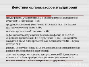 предупредить участников ЕГЭ о ведении видеонаблюдения в аудитории и коридорах ПП