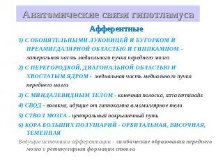 Анатомические связи гипотламуса Афферентные 1) С ОБОНЯТЕЛЬНЫМИ ЛУКОВИЦЕЙ И БУГОР